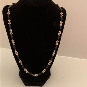 Trifari black bead and small pearl necklace.